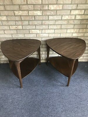 Two Lot Mid Century Modern Mersman Guitar Pick Two Tier End Tables Vintage 31-5