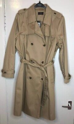 BNWT M/&S Indigo Collection Brown Mac Trench Coat Longline Jacket Belted Size 12