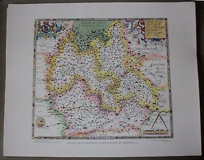 Saxton Map of Oxfordshire, Bucks, and Berks 1574 - Lithographic Print - Unframed