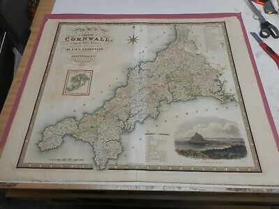 100% Original Large Cornwall Map By Greenwood C1834 Hand Coloured