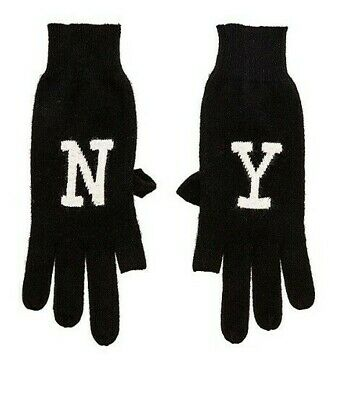 NEW 360 100% Cashmere Black and White NY Texting Gloves NWT