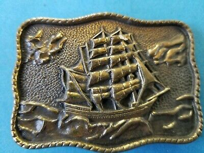 Vintage 1978 Sailing Ship Belt Buckle Nautical Clipper Boat BTS Solid Brass
