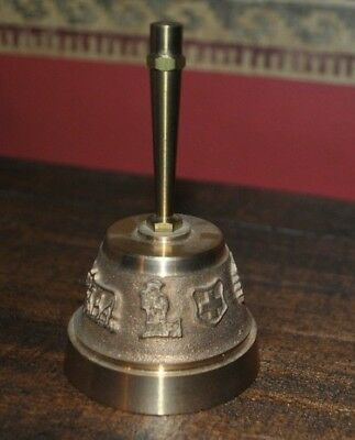 "Vintage Brass Bell ~ Made in Switzerland ~ 4"" tall, heavy for size"