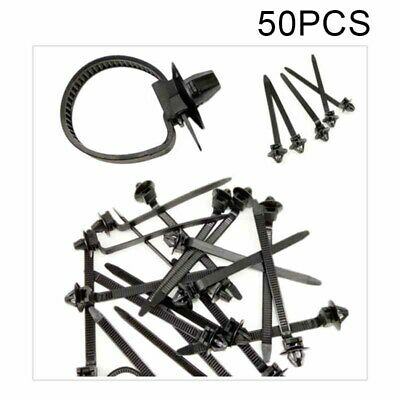 50pcs Nylon Car Tie Wrap Cable Fixed Fasteners Clips Fastening Strap Kit Set New