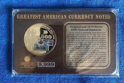 Other Bullion American Mint Greatest American Currency Notes 1882 $500 Gold Certificate