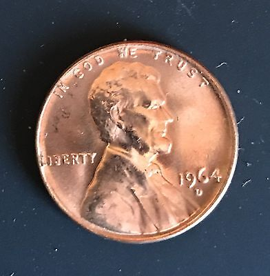 1964 D Lincoln Memorial Cent Choice BU Penny US Coin in CELLO