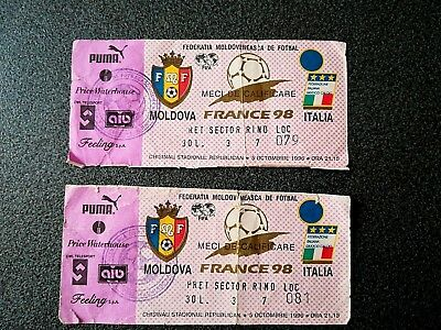 France 1998 2 Tickets Match Moldova Italia Fifa Rare  Moldov Fed Original Stamp