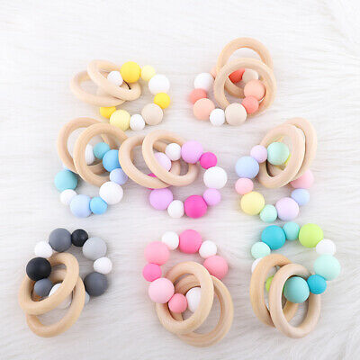 Natural Wood Ring Food Grade Silicone Teething Beads Baby Teether Chew Bracelet