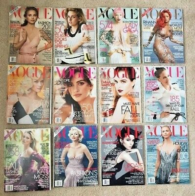US Vogue Lot Complete Year of Back Issues for 2011