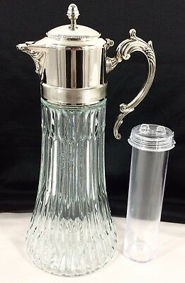 "Vtg Silverplate Crystal Glass Hinged Top 14"" Pitcher Decanter w/ Ice Insert"