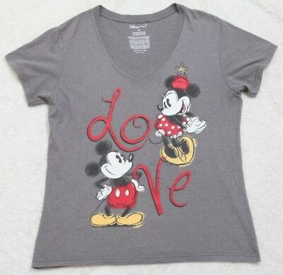ced12c99fec Disney Store Gray Tee T-Shirt Women s Love Minnie Mickey Mouse Graphic V- Neck