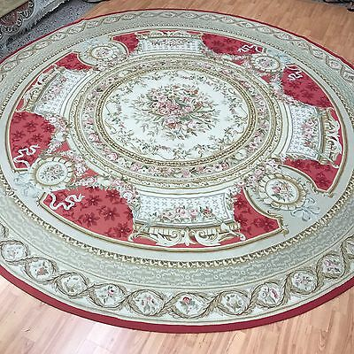 10' x 10' Round Chinese Aubusson Tapestry Oriental Rug - Hand Made - 100% Wool