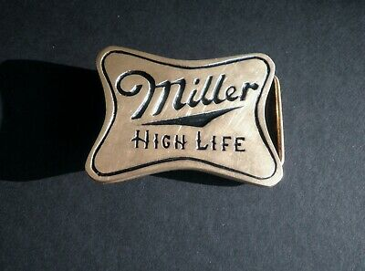 1970s Vintage Brewery Miller High Life Beer Solid Brass Belt Buckle Very Good