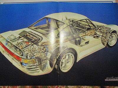 Poster 2 Pages Auto : Porsche 959 Eclate