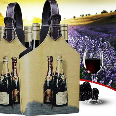 Vintage Looking Wine Box Storage Holder Organizer For 2Bottles Bag With Handle