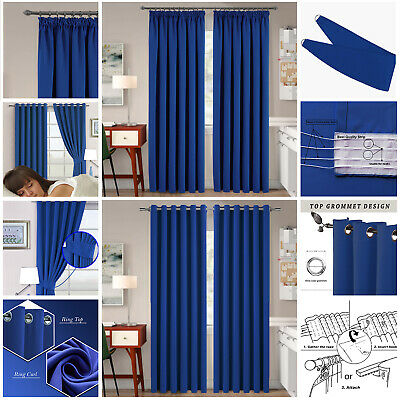 Thermal Blackout Ready Made Eyelet Ring Top Pencil Pleat Curtains Royal Blue