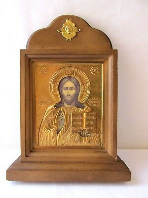 Antique Russian icon with brass oklad (Riza) of Jesus Christ Pantocrator
