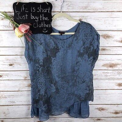 1d6f3f11e75 Carla Conti Italy Womens Top Size XS Floral Silk Layered Oversized Blue 279