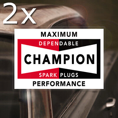2x pieces Champion Spark Plugs REAL waterslide decal STP vintage inside window