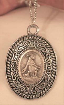 Swirl Rimmed Etch Detailed St. Roch St. Rocco Religious Medal Pendant Necklace