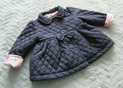 Baby Girls Navy Blue Quilted Jacket with Collar (3-6 Months) - By Bambini - BHS