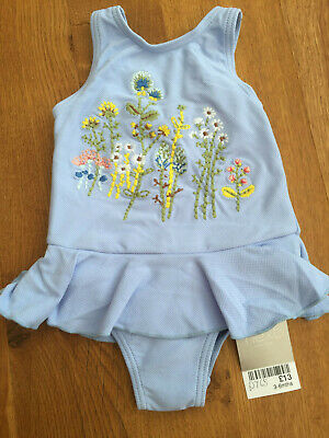 NEXT Baby Girls Blue Embroidered Swimsuit - BNWT - 3-6 months