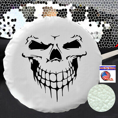 "16"" white PU leather spare wheel tire cover for Jeep SUV car truck trailer skull"