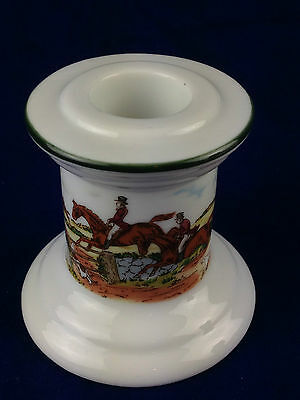 """FOX HUNT HUNTING white Candle stick porcelain made in Japan 2.75"""" Tall"""