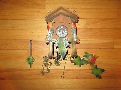 9T/Vtg Regula(?) West Germany Cuckoo Clock/Weighted/Bird/Leaves/Parts Or Repair!