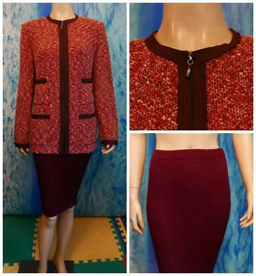 St John Collection Knits Red Wine Jacket Skirt L 12 14 2pc Suit Trims Multicolor