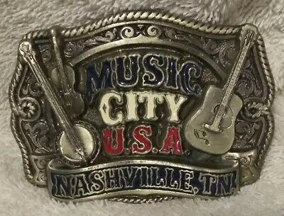 Music City USA Nashville Tennessee Vintage 1992 Belt Buckle