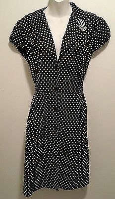 New French Atmosphere Retro Rockabilly Pinup B&W Polka Dot Waitress Dress L