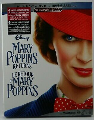 Mary Poppins Returns [Blu-ray + DVD + Digital] BRAND NEW Slipcover Canadian