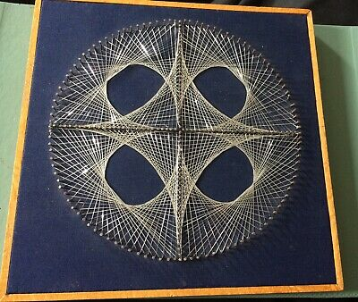 1970s small Nail wire string art picture in wooden frame