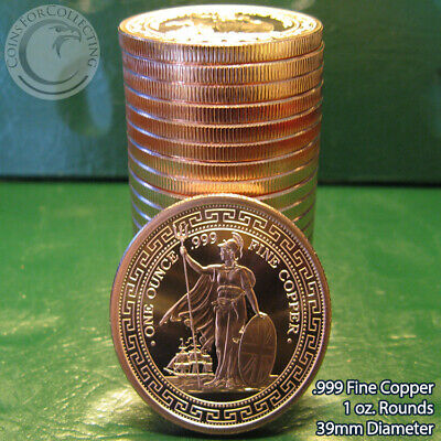 """20 /""""2nd Amendment Right/"""" 1oz .999 Copper 20 Beautiful Rounds 1 Roll in Tube"""