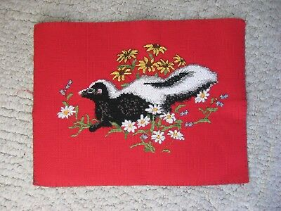 "Handmade Counted Cross Stitch Skunk, Unframed, 9""x 6"", USA Made, Animal"