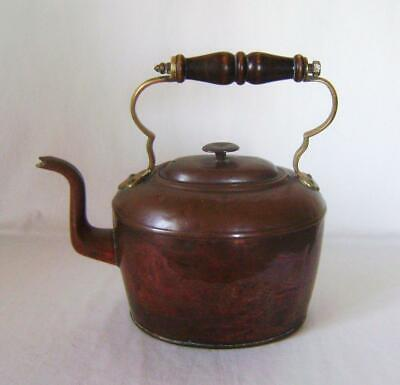Antique Oval Copper Kettle:  Tinned Inside, Wooden Handle