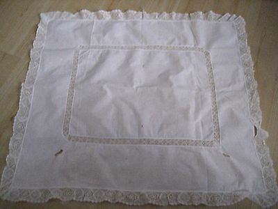 Vtg Antique Ivory Irish Lace Insertion SQUARE TABLE TOPPER CLOTH Shabby Chic