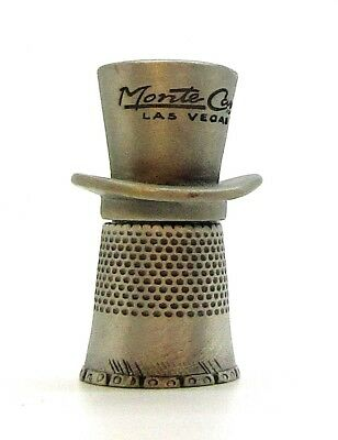 Monet Carlo Las Vegas Nevada Pewter Thimble. Etched Top Hat Topper