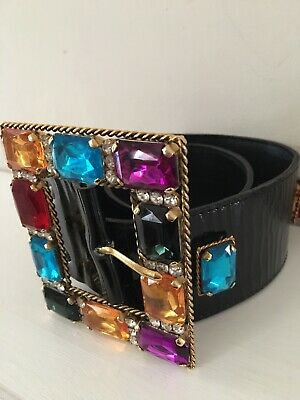 Stunning Vintage 1980s Belt With Coloured  Stones.