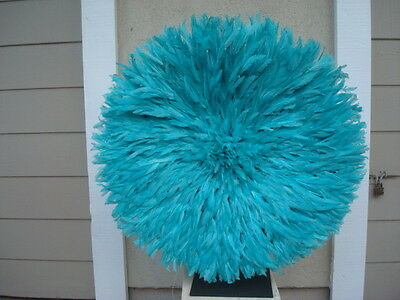 """30"""" Lt. Turquoise  / African Feather Headdress / Juju Hat / 1st. Quality"""