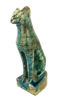 Very Rare Glazed Bastet Sculpture Ancient Egyptian Antique Bast Figurine Amulet