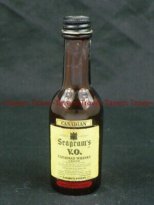 EMPTY dated 1962 SEAGRAMS VO CANADIAN WHISKEY Mini Bottle Tavern Trove
