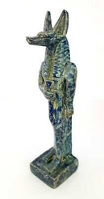 Rare Glazed Anubis Sculpture Ancient Egypt Antiquity Statue Faience Dog Amulet