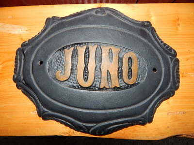 "Vintage JUNO Heavy Cast Iron Ornate Logo Badge from Wood Stove 11"" long-RARE!"
