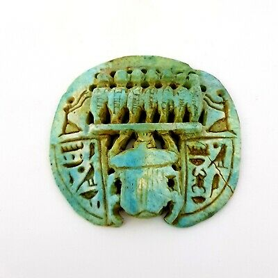 Very Rare Scarab Beetle Amulet Egypt Ancient Antique Talisman W/T Hieroglyphics