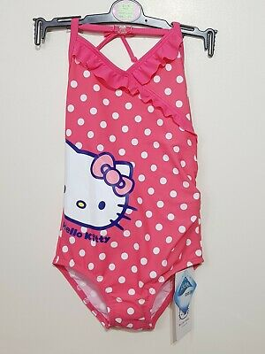 M&S Girls Pink Hello Kitty Spotted Swimming Costume Age 3-4 years BNWT
