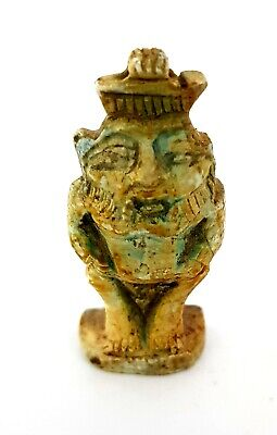 Egyptian Antiques Bes Amulet Ancient Egypt God Of Sex Talisman Rare Faience