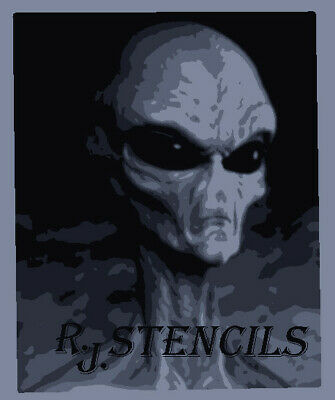 Multilayer step by step airbrush stencil grey alien  1