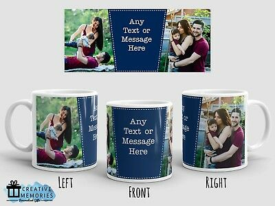 Personalised Photo Mug - Mother's Day Mug - Coffee Mug Cup - Dark Blue Colour